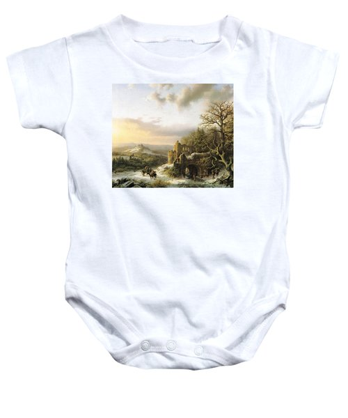 Winter Landscape With Peasants Gathering Wood Baby Onesie