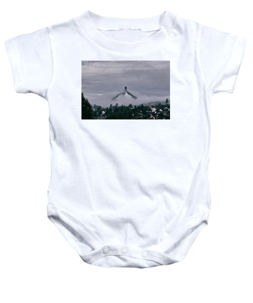 Winter Morning Fog Envelops Chimney Rock Baby Onesie