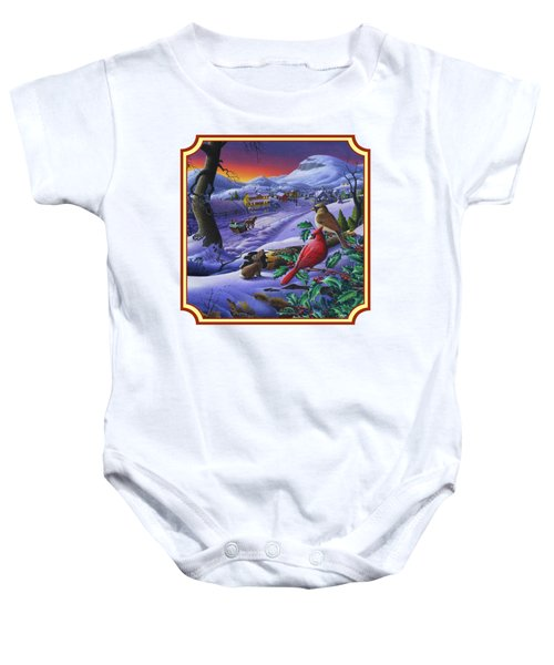 Winter Mountain Landscape - Cardinals On Holly Bush - Small Town - Sleigh Ride - Square Format Baby Onesie