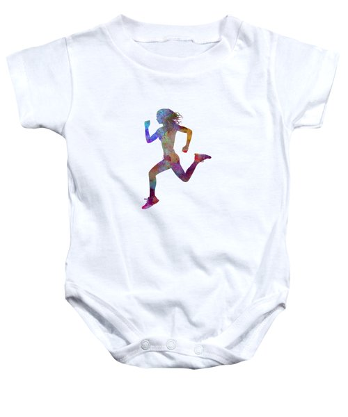 Woman Runner Running Jogger Jogging Silhouette 01 Baby Onesie by Pablo Romero