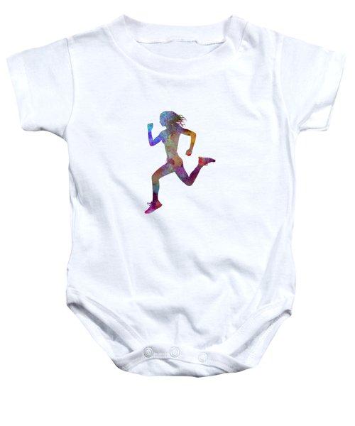 Woman Runner Running Jogger Jogging Silhouette 01 Baby Onesie