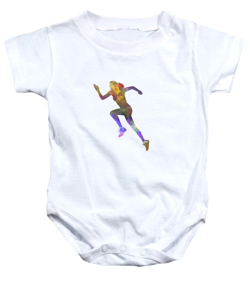 Woman Runner Running Jogger Jogging Silhouette 03 Baby Onesie by Pablo Romero