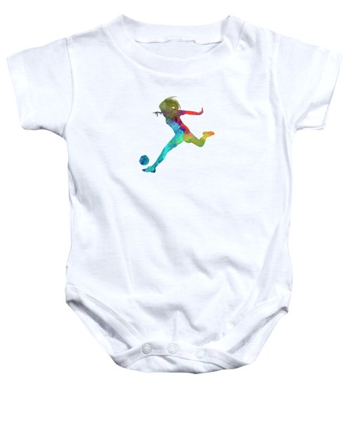 Woman Soccer Player 01 In Watercolor Baby Onesie by Pablo Romero