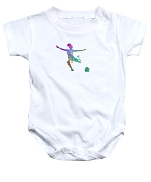 Woman Soccer Player 03 In Watercolor Baby Onesie by Pablo Romero