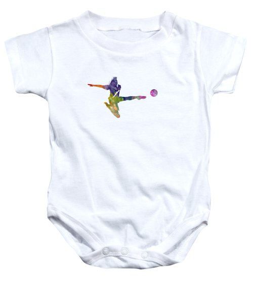 Woman Soccer Player 04 In Watercolor Baby Onesie by Pablo Romero