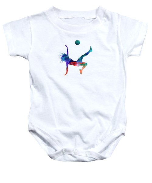 Woman Soccer Player 08 In Watercolor Baby Onesie by Pablo Romero