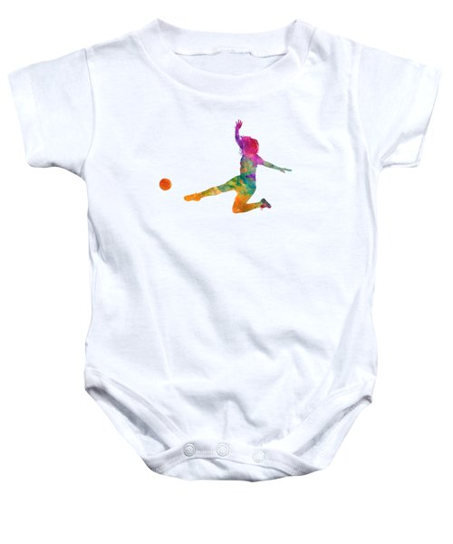 Woman Soccer Player 11 In Watercolor Baby Onesie by Pablo Romero
