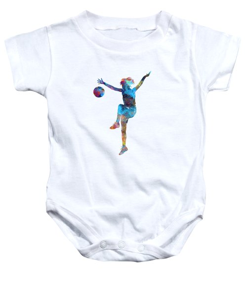 Woman Soccer Player 12 In Watercolor Baby Onesie