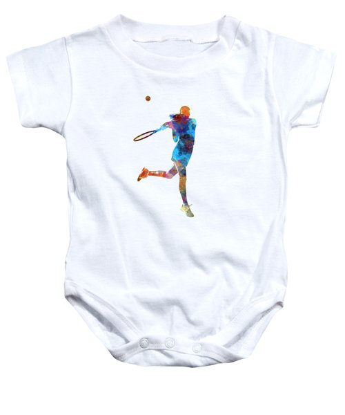 Woman Tennis Player 03 In Watercolor Baby Onesie by Pablo Romero
