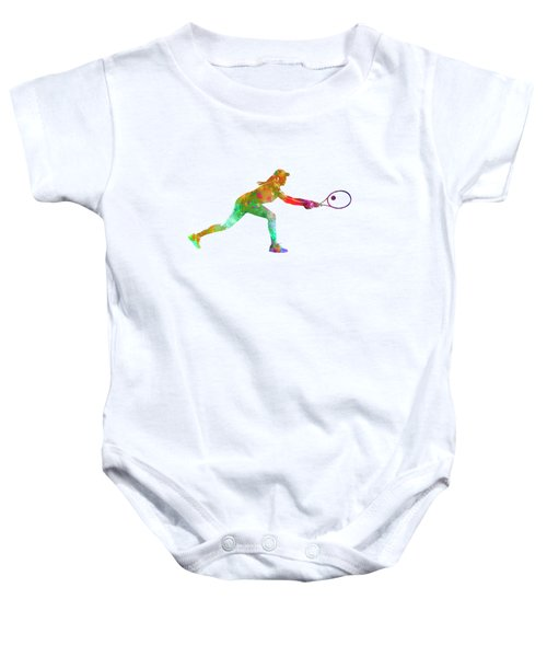 Woman Tennis Player Sadness 02 In Watercolor Baby Onesie by Pablo Romero