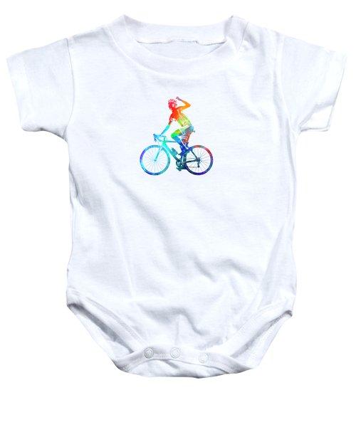 Woman Triathlon Cycling 03 Baby Onesie