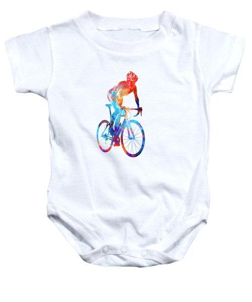 Woman Triathlon Cycling 06 Baby Onesie by Pablo Romero