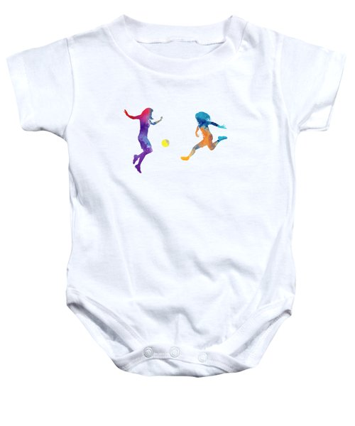 Women Soccer Players 01 In Watercolor Baby Onesie by Pablo Romero