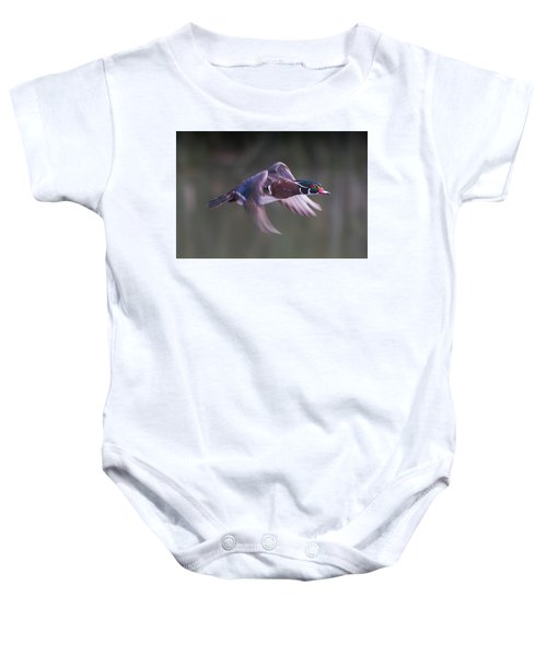 Wood Duck Flight Baby Onesie