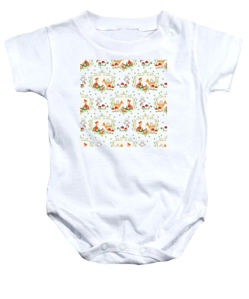 Woodland Fairy Tale - Pink Sweet Animals Fox Deer Rabbit Owl - Half Drop Repeat Baby Onesie by Audrey Jeanne Roberts