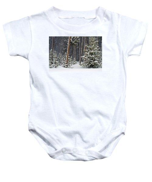 Woodland Snowstorm In Yellowstone Baby Onesie