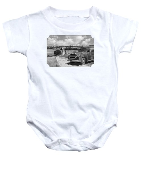 Down On The Farm- International Harvester In Black And White Baby Onesie