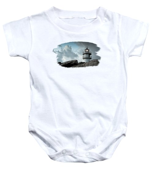 Working Lighthouse Isolated On White Baby Onesie