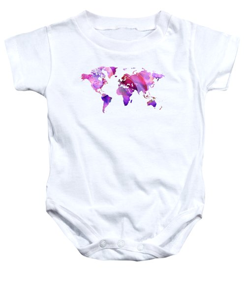 World Map 20 Pink And Purple By Sharon Cummings Baby Onesie