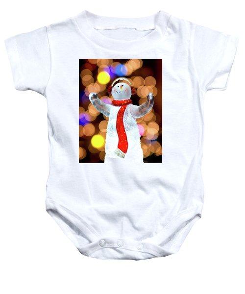 Worshiping Snowman Baby Onesie