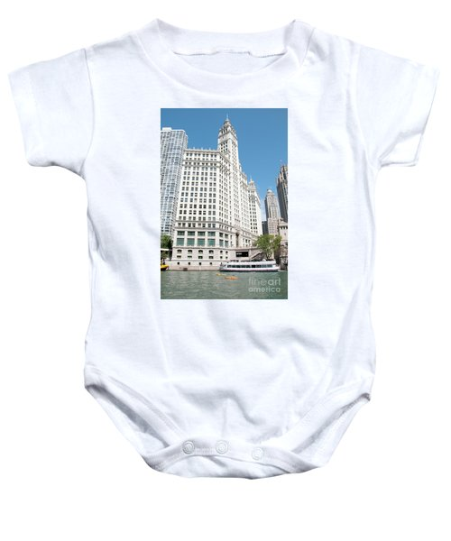 Wrigley Building Overlooking The Chicago River Baby Onesie