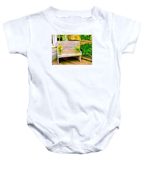 Yellow Flowers On Porch Bench Baby Onesie