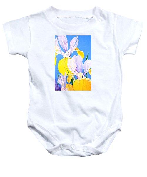 Yellow Irises-posthumously Presented Paintings Of Sachi Spohn  Baby Onesie