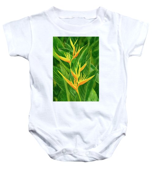 Yellow Orange Heliconia With Leaves Baby Onesie