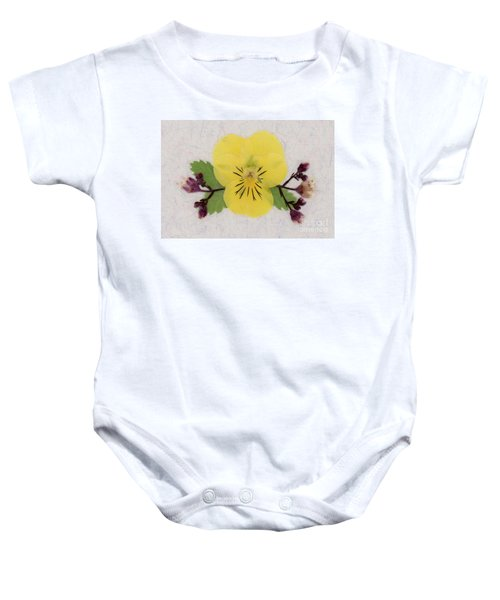 Yellow Pansy And Coral Bells Pressed Flowers Baby Onesie