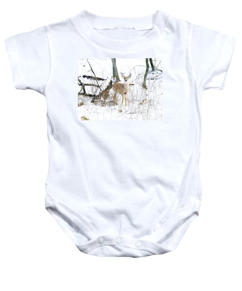 Young Doe And Spring Snow Baby Onesie