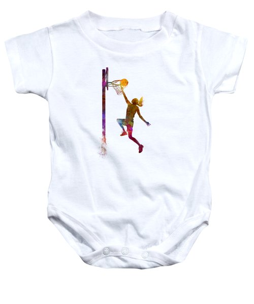 Young Woman Basketball Player 04 In Watercolor Baby Onesie