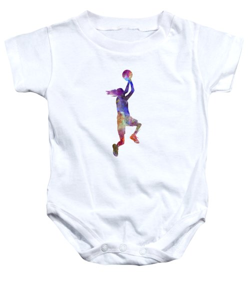 Young Woman Basketball Player 05 In Watercolor Baby Onesie by Pablo Romero