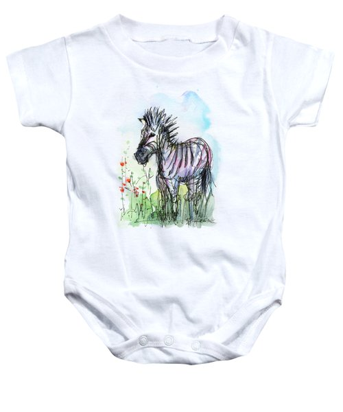 Zebra Painting Watercolor Sketch Baby Onesie by Olga Shvartsur