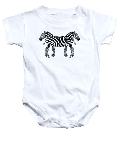 Zebra Pair On Black Baby Onesie by Gill Billington