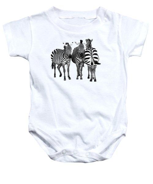 Zebra - Three's A Crowd Baby Onesie by Gill Billington