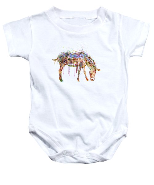 Zebra Watercolor Painting Baby Onesie by Marian Voicu