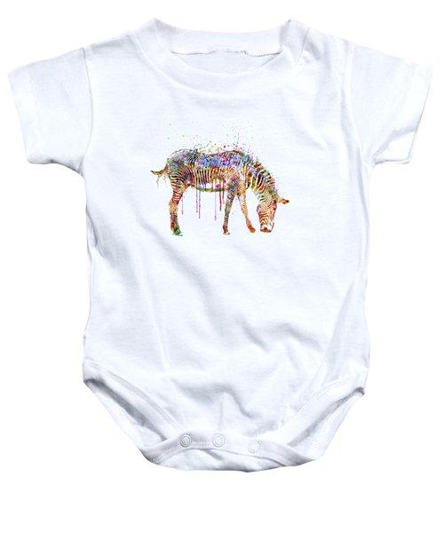 Zebra Watercolor Painting Baby Onesie