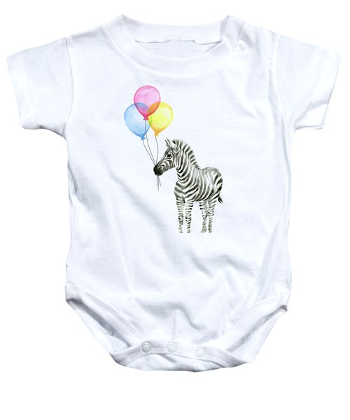 Zebra With Balloons Watercolor Whimsical Animal Baby Onesie