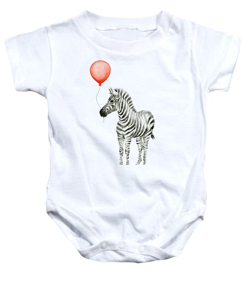 Zebra With Red Balloon Whimsical Baby Animals Baby Onesie by Olga Shvartsur