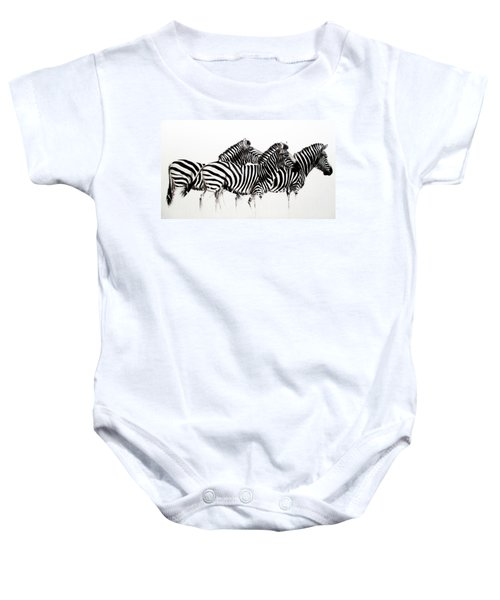 Zebras - Black And White Baby Onesie