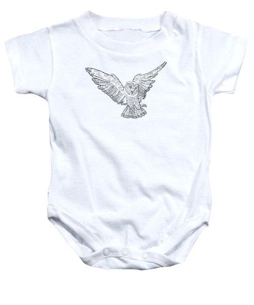 Zentangle Owl In Flight Baby Onesie