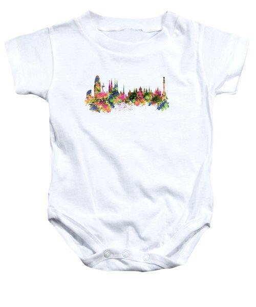 Barcelona Watercolor Skyline Baby Onesie