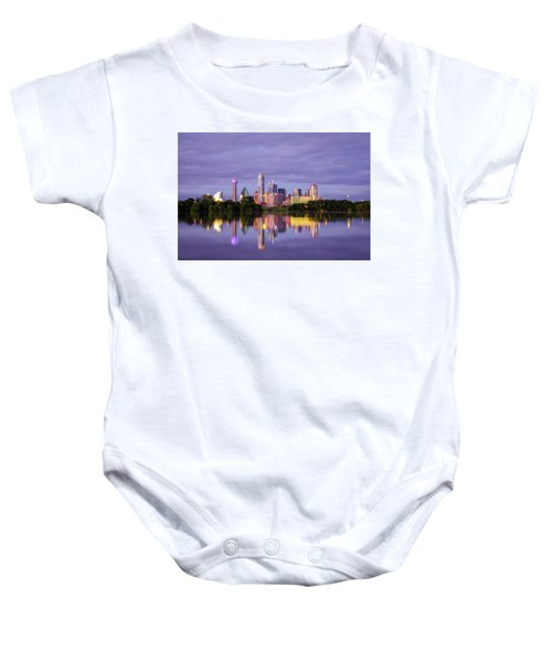 Dallas Texas Cityscape Reflection Baby Onesie