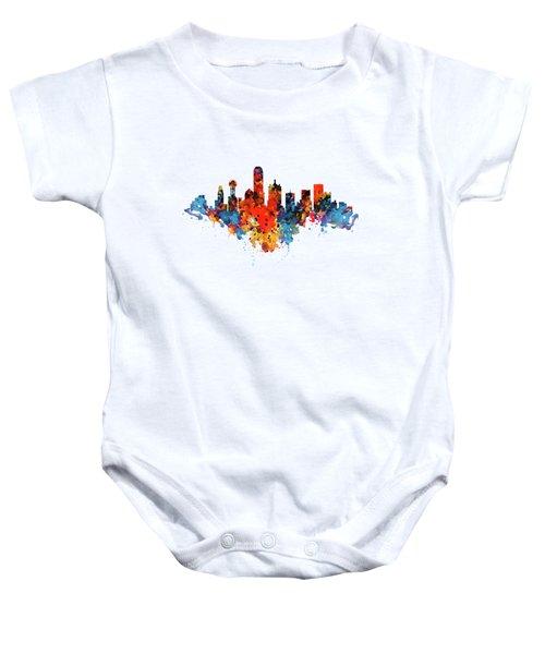 Dallas Watercolor Skyline  Baby Onesie