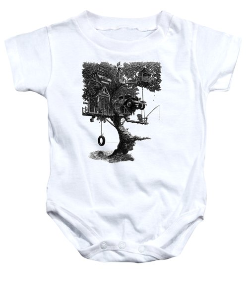 Lake Front Dream House Baby Onesie
