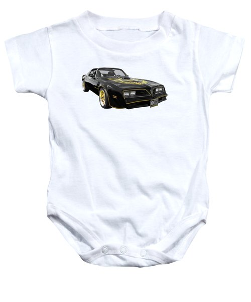 1976 Trans Am Black And Gold Baby Onesie