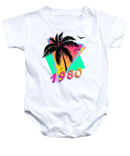 1980 Cool Tropical Sunset Baby Onesie