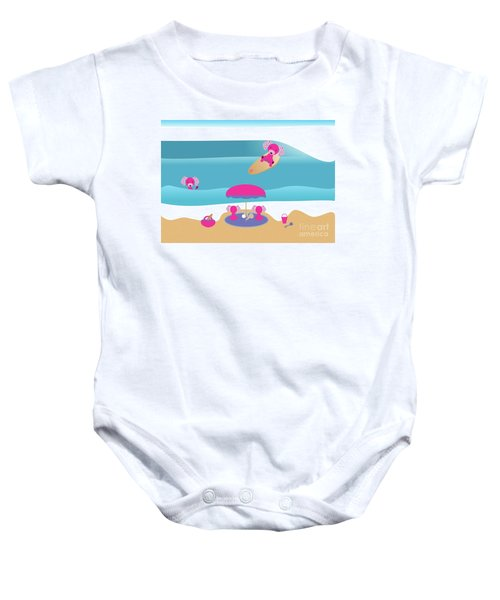 A Dog Family Surf Day Out Baby Onesie