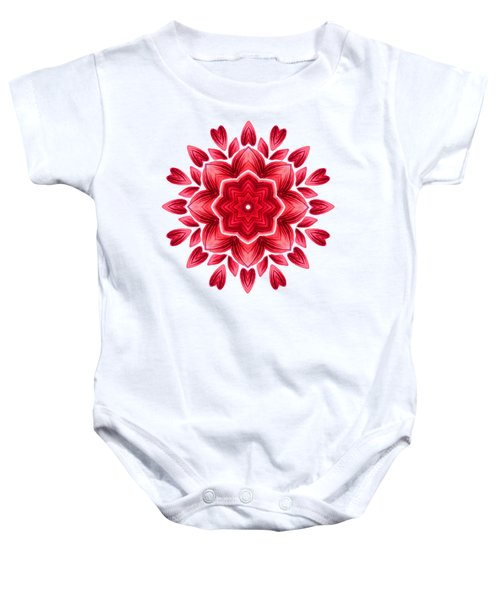 Abstract Watercolor Red Floral Mandala Baby Onesie