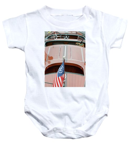Antique Wooden Boat With Flag 1303 Baby Onesie